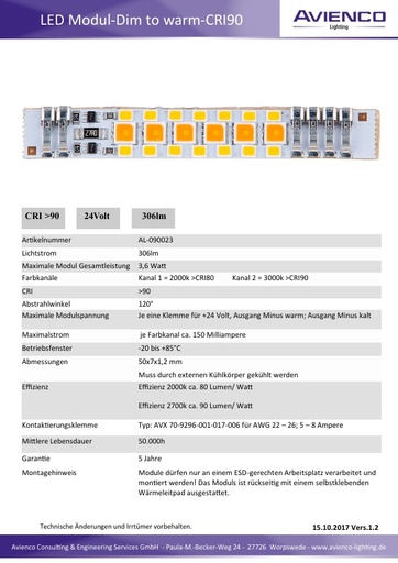 LED Modul  Dimm to warm CRI 90 Vers 1 2
